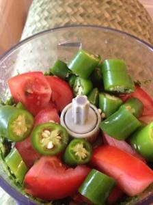 Cilantro, Chilis, and tomato