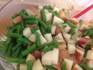 cooked potato and green beans