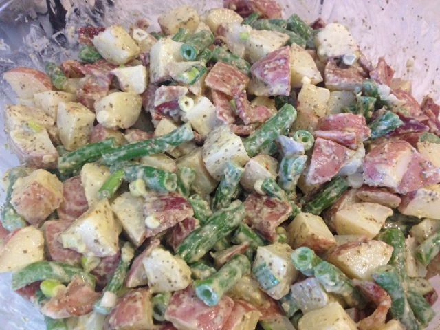 Bacon Bean Pesto Potato Salad