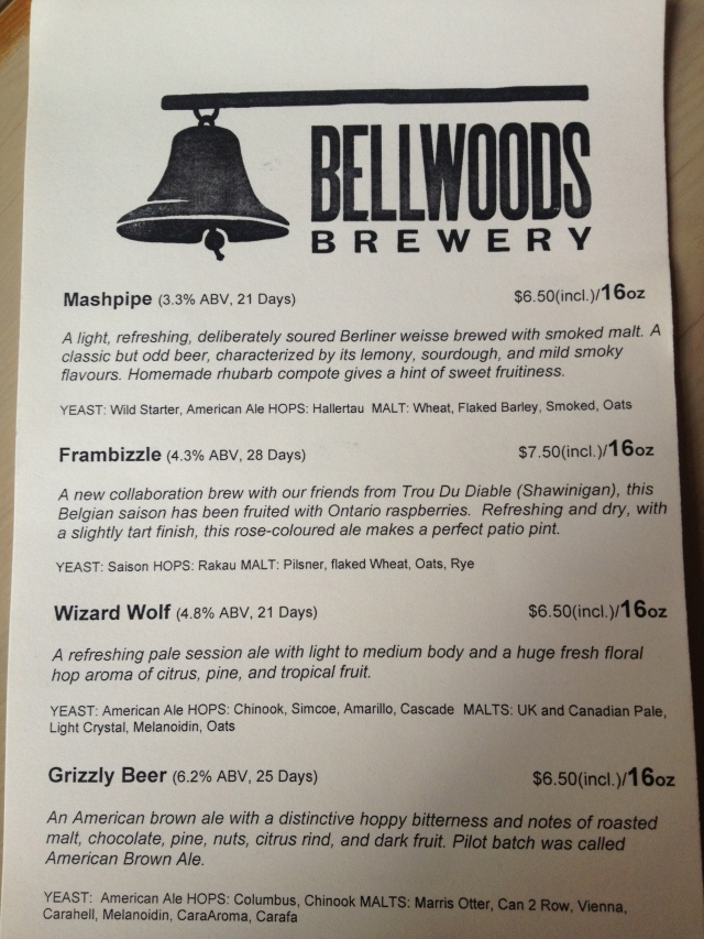 Bellwoods Menu