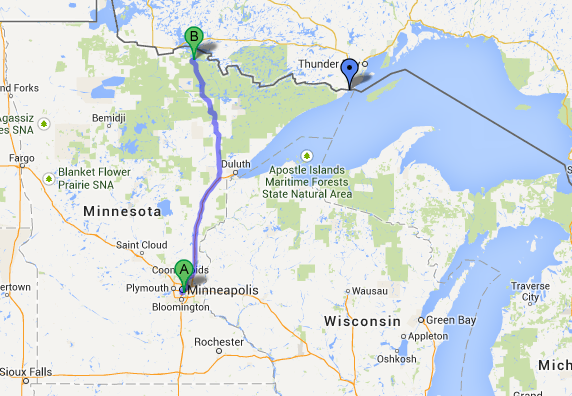 Driving from Minneapolis to International Falls MN where we put in.  The blue pin on the right is Grand Portage where we would end our journey.