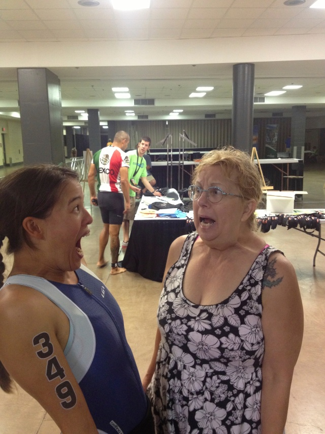 4:45am in the Transition Arena.  Freaking out with Mom :)
