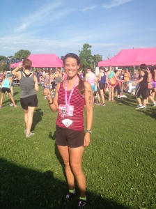 Me with my necklace, medal, and bubbly.