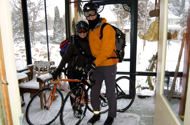 My very first time riding in snow.  We biked to a bed & breakfast in the first winter storm December 2009.